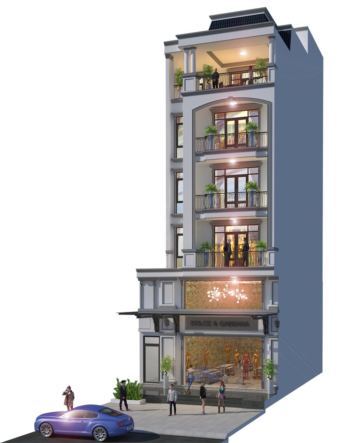 Phối cảnh 3D golden shophouse mã căn Q5-56 khu đô thị Vạn Phúc.